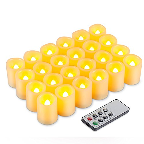 Kohree LED Votive Unscented Battery Powered Candles with Remote Control Timer, 1.5-Inch-by-1.9-Inch, Set of 24