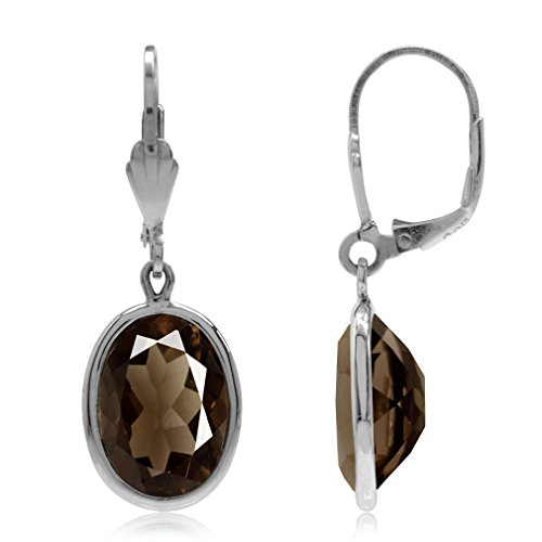 10.44ct. Smoky Quartz 925 Sterling Silver Drop Dangle Leverback Earrings