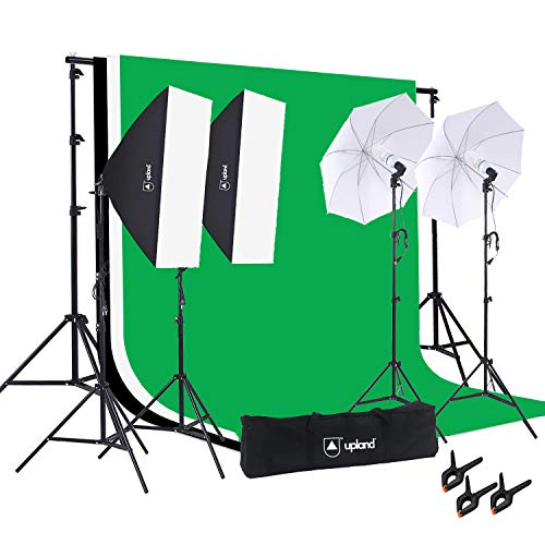Upland Photography Studio Lighting Kit, 800W 5500K Umbrella Softbox Continuous Light with Backdrop Stand Kit for Photo Portrait Video Shoot