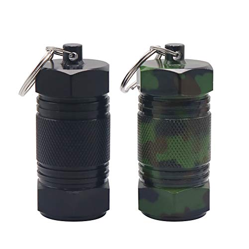 (Shintop 2PCS High Capacity Aluminum Container Keychain Waterproof Pill Container (Black+Camouflage))
