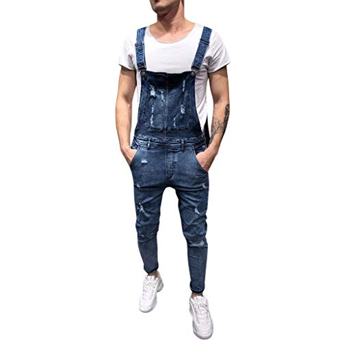 ALOVEMO Men's Overall Casual Jumpsuit Jeans Wash Broken Pocket Trousers Suspender Pants Blue