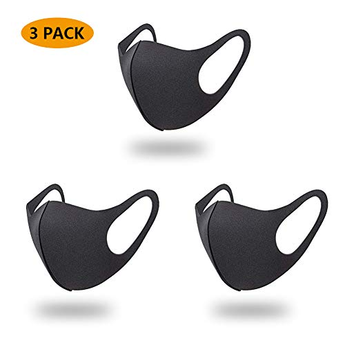 3 Pack Face Mask Dust Mask Anti Pollution Mask Unisex Mouth Mask Reusable Black Cotton Face Mask Black