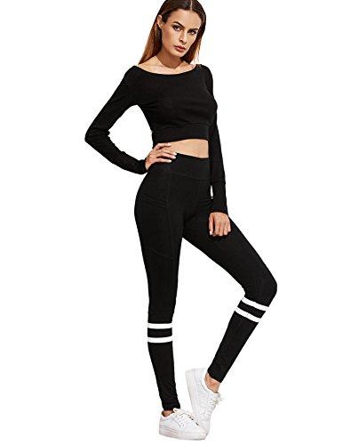 76633a63f94dd SweatyRocks Women's Striped High Waist Yoga Workout Leggings ...