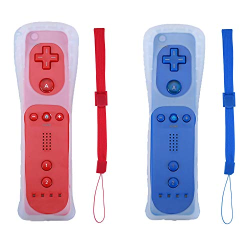 Poglen 2 Packs Wireless Gesture Controller Compatible for Nintendo wii/wii u Console - with Silicone Case and Wrist Strap for wii Controller (Red and Deep - Nintendo Wireless Remote Wii