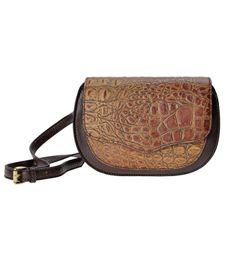 ZLYC Leather Embossed Bag Small over Tone Two Body Brown Women Cross Fold Fashion Grain pBYqprn