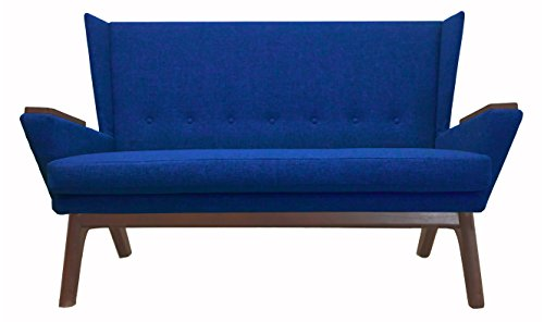 Lewis Interiors Bright Blue Upholstered Mid Century Modern 60 inch Love Seat Sofa Couch Bench Seat MCM Loveseat Contemporary Retro Handcrafted Custom (Bright Blue Fabric, Medium Wood Tone) For Sale
