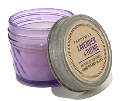 Paddywax Candles Relish Collection Soy Wax Blend Candle in Glass Mason Jar, Small- 3 Ounce, Lavender + Thyme