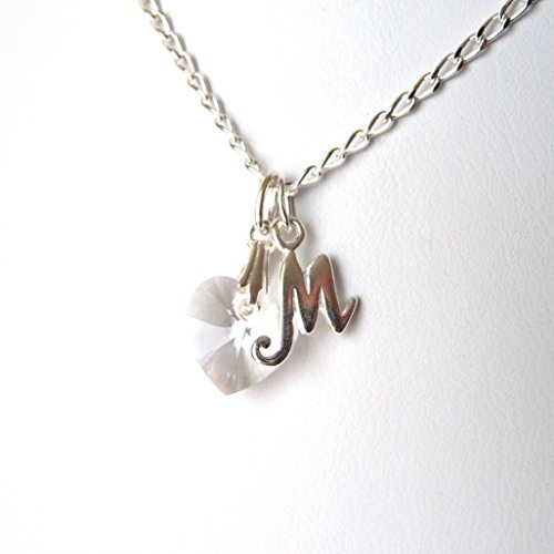 Childrens Birthstone Initial Necklace with Grow Chain Extender, CHOOSE BIRTHSTONE,CHARM & SIZE, Kids Personalized Jewelry