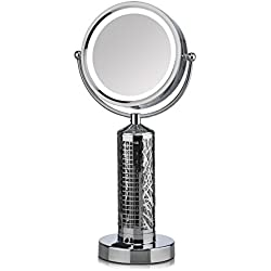 Fanity Two-Sided Magnifying Lighted Makeup Mirror Vanity Mirror with Built-In Two Speed Cooling Fan Air Circulator, 5x Magnification