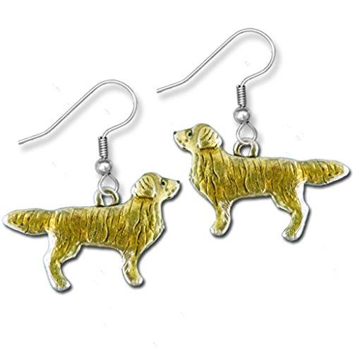 Enamel Golden Retriever Full Body Earrings -