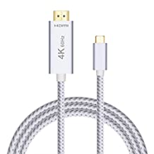 USB C to HDMI Cable 4K 60Hz 6.6ft/2M (Thunderbolt 3 Compatible), Braided USB Type-C to HDMI 2.0 Adapter Cable M/M, Aluminum Shell + Gold-plated Connector for MacBook Pro, Chromebook, Samsung Galaxy S8/S8 Plus (Plug & Play)