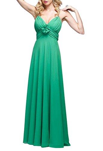 WeiYin Women's Ruched Sweetheart Chiffon Empire Long Evening Dress Prom Gown