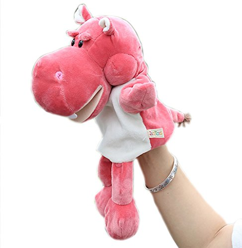 Ventriloquist Costume Male (Mouth Moving Plush Pink Hippo Hand Puppet Cute Animal Puppets for Kids)