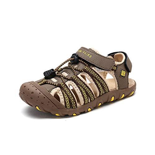 DREAM PAIRS Boys Girls Little Kid 171111-K Khaki Beige Yellow Outdoor Summer Sandals Size 3 M US Little Kid