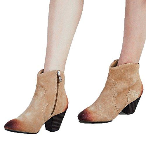 MINIVOG Block heel Suede Frayed-seams Pointed-toe Ankle Booties Black N2Bl222I