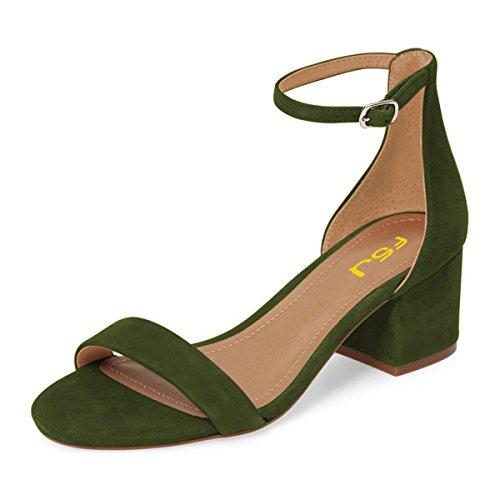 Shoes US Comfortable Olive Walking Ankle Chunky Green suede FSJ Open Women Size 15 Heel Sandals Low Summer Toe Strap 4 wCa7gq