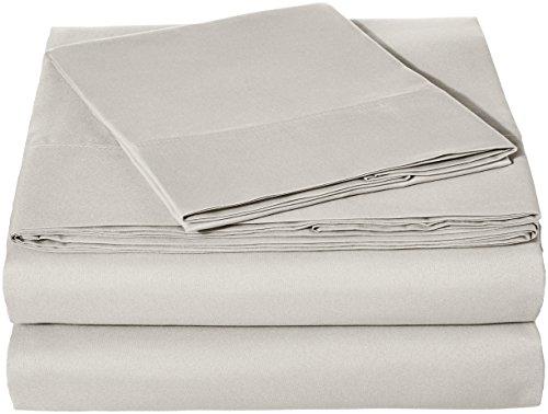 AmazonBasics Microfiber Sheet Set - Twin, Light Grey, 4-Pack