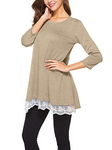 Adreamly Women's Lace 3/4 Sleeve Scoop Neck Flowy Loose Tunic Top T Shirt Blouse Khaki (Sleeve Scoop Necklace)