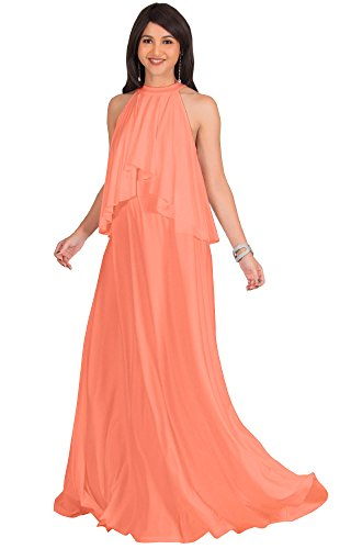 KOH KOH Plus Size Womens Long Sleeveless Halter Neck Flowy Bridesmaid Bridal Cocktail Spring Summer Beach Wedding Party Guest Floor-Length Gown Gowns Maxi Dress Dresses, Light Pink Peach 2XL 18-20 Cocktail Wedding Dress Gown
