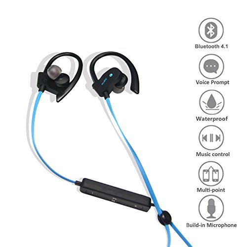 Godier Wireless Bluetooth Earphones Earbud Workout with Microphone Neckband Headphone for Running Jogging Sports Exercise Sweat-proof Lightweight Headset Noise-cancelling Stereo Bass HD Sound