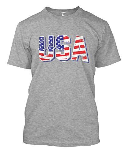 USA - Retro American Flag Stars & Stripes Men's T-Shirt (Light Gray, XXX-Large)