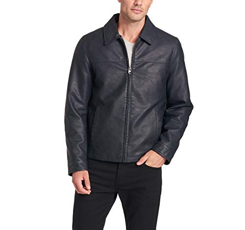 (Dockers Men's James Classic Faux Leather Laydown Collar Open Bottom Jacket, Navy, Small)