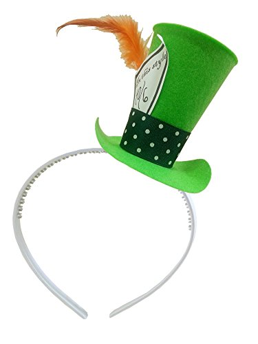 [Green Mad Hatter Costume Mini Top Hat Headband Tea Party Alice in Wonderland Decoration] (Kids Mad Hatters Tea Party Costumes)