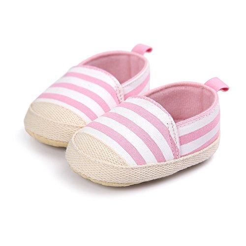 Zapatos de bebé Zapatos moderno de raya para bebés Suela antideslizante para los primeros pasos Tamaño para 0-12 meses Luerme Rosado