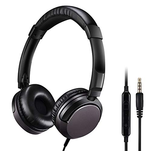 noot products D226 Wired On-Ear Headphones with Microphone/Mic,Volume Control and Remote for Kids,Adults,Teens,Girls,Boys and Computers All 3.5mm Audio Jack Devices (Black) (Best Headphones With Mic And Volume Control)