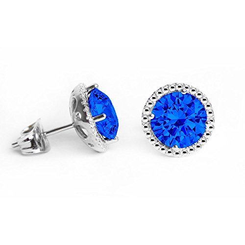 Swarovski Crystals September Birthstone Sapphire Stud Earrings