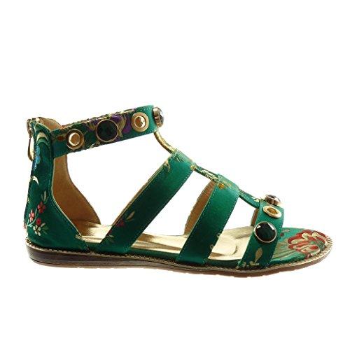 Angkorly Damen Schuhe Sandalen - Knöchelriemen - Römersandalen - Schmuck - Blumen - Bestickt Flache Ferse 1.5 cm Grüne