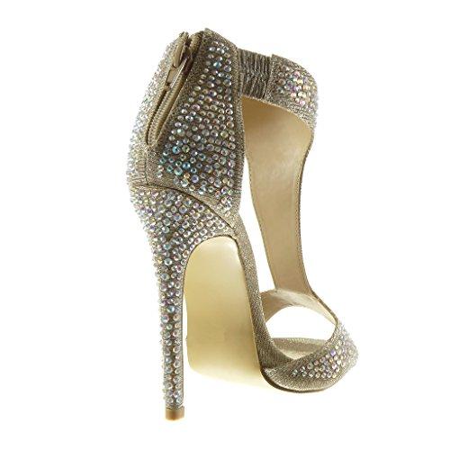 Angkorly - Scarpe da Moda sandali Stivaletti - Scarponcini cinturino sexy stiletto donna strass lucide Tacco Stiletto tacco alto 12.5 CM - Oro