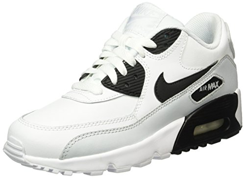 Nike Unisex-Kinder Air Max 90 Leather (GS) Shoe Low-Top Weiß (104 WHITE/BLACK-PURE PLATINUM-WHITE)