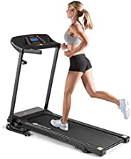 Goplus Electric Folding Treadmill, Adjustable Incline and Low Noise Design, with LCD Display and Heart Rate Se