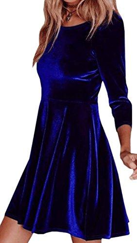 Cruiize Occasionnel Mince Manches 3/4 Bleu Robe De Soirée En Velours Ras Du Cou Des Femmes