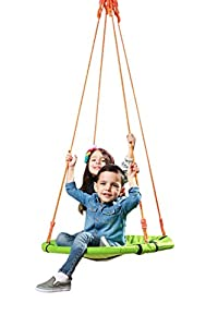 """AKC Kinetics Outdoor Round Tree Swing - Large 30"""" Saucer Swing in Blue - 350 lb Weight Capacity - Durable Steel Frame - Waterproof - Adjustable Ropes - Easy to Install - Fun for Kids,Adults,Friends,"""