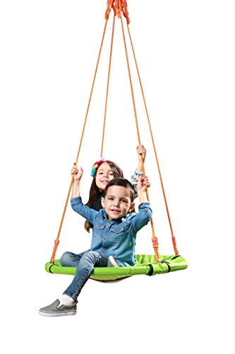 SLIDEWHIZZER Backyard Round Tree Swing - Kids Swing Sets for Backyard, Spinner Saucer Swing, Durable Steel Frame, Waterproof, Adjustable Ropes, Easy Install (30 inches)