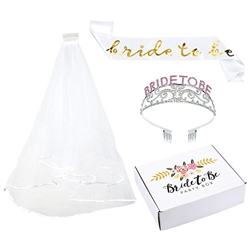Set of 3 Bachelorette Party Supplies Kit - Bride-To-Be Sash, Bachelorette Tiara, Bachelorette Veil, Classy Bridal Party Accessories, White (Bachelorette Tiara And Sash)
