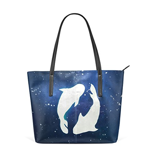 LEISISI Pisces Women's Leather Tote Shoulder Bags Handbags