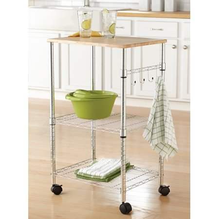 Multi-Purpose Rolling Cart. Wood top, Utility Cart With Height Adjustable Shelf, Sturdy metal with sleek finish Utility / Kitchen Cart (Chrome)