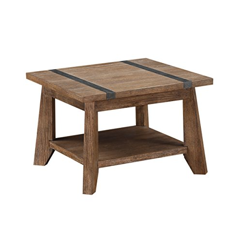 Cheap Emerald Home Viewpoint Driftwood Gray End Table with Open Storage Shelf And Metal Detailing