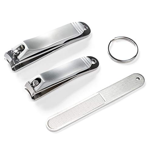 Fingernail & Toenail & Slant Edge Nail Cutter Trimmer Clipper 3PCS Set in Metal Case for Man and Women Stainless Steel Nail Grooming Travel Kit