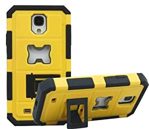 2014 Hot Armor Beer Bottle Opener Case Hard Plastic Shell + Silicone Skin Cover with Stand Function for Samsung S4 I9500 (Yellow)