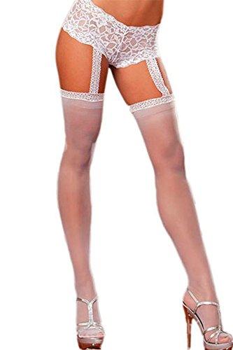 Liga de encaje corto Sheer medias blanco y negro una pieza ropa de mujer talla única blanco