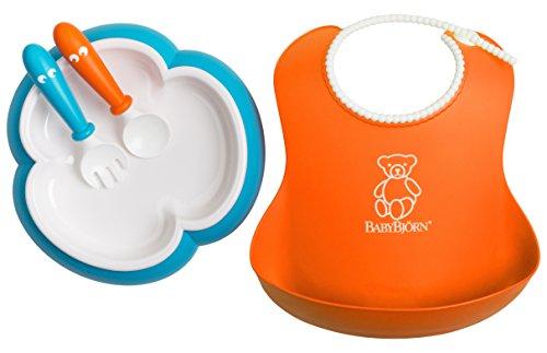 Baby Feeding Set - Orange Soft Bib, Turquoise Plate, Orange Spoon and Turquoise Fork