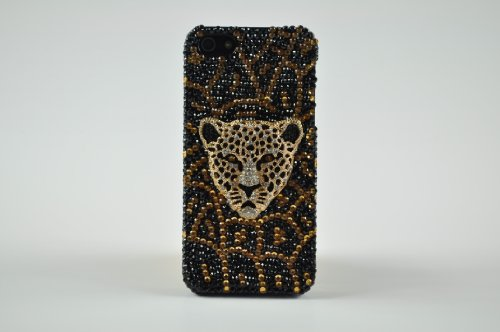 FancyG® Luxury Handmade Black Gold Crystals 3D Golden Leopard Face Plate Back Cover Case for iPhone 5S iPhone 5 Very Cool and (Leopard Faceplate)
