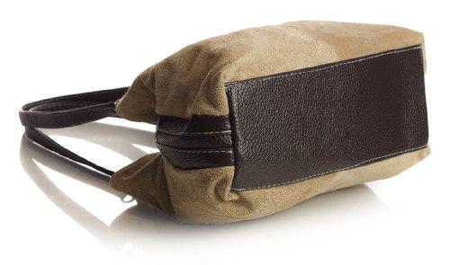 Big Handbag Shop kleine Damen Umhängetasche mit mehreren Reißverschlusstaschen aus Wildleder Light grau - schwarz Trim