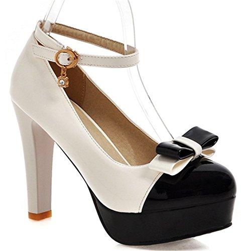 YE Damen Süß Ankle Strap High Heels Lack Plateau Pums mit Blockabsatz und Schleife Schuhe Weiß