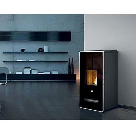 Estufa a PELLAS Eva calor Zaira 13 kW Color Cristal Negro: Amazon.es: Hogar