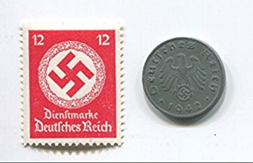 Rare Nazi Swastika 1 Reichspfennig German Coin World War Two WW2 with Scarce Red Swastika Stamp MNH